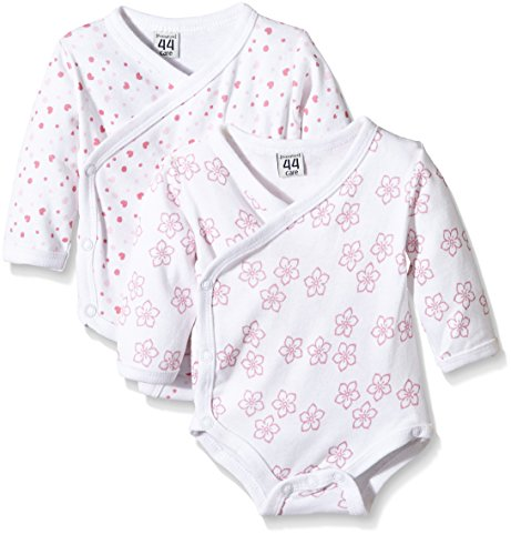 Amazon Exclusive: Care Baby - Mädchen Langarm-Wickelbody im 2er Pack, All over print, Gr. 56, Rosa (Light red...