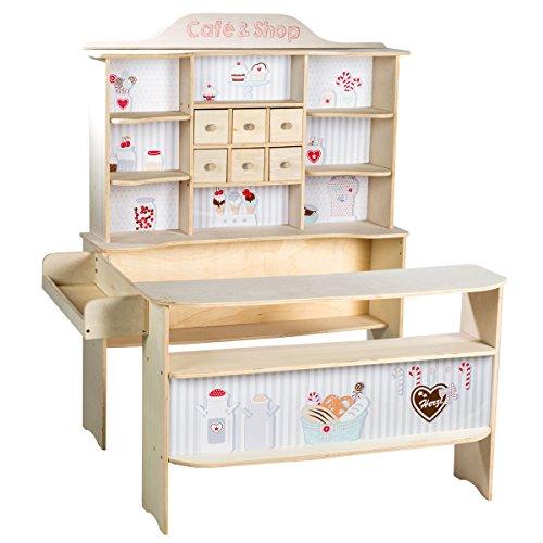 roba 480020 Kaufladen, Kinder Kaufmannsladen 'Café und Shop', Holz, Verkaufsstand 6 Schubladen, Seitentheke...