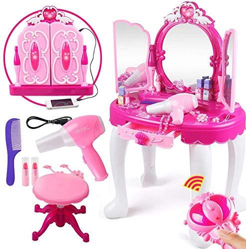 Ejoyous Kinder Mädchen Schminktisch Set, Fashion Beauty Princess Kommoden mit Hocker Make-up Schreibtisch mit...