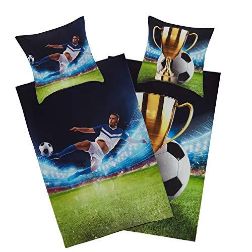Aminata Kids - Bettwäsche Jungen 135x200 Junge Jugend - Fussball-Fan-Motiv Baumwolle - mit Pokal mit YKK...
