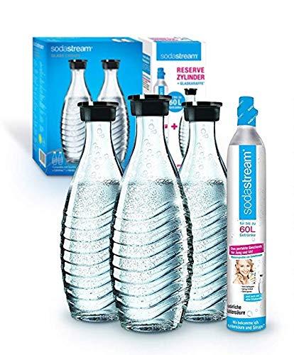 Sodastream Promopack Zylinder mit Glaskaraffe (1 x CO2-Zylinder für 60L und 3 x 0,6L Glaskaraffe, Karaffe...