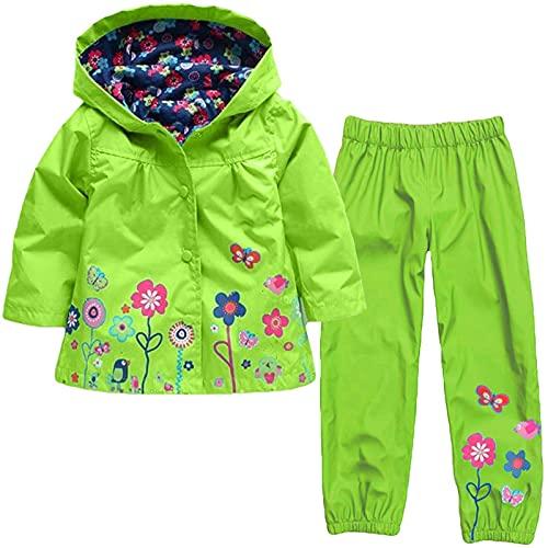 Kinder Regenjacke und Regenhose, Blumenmuster wasserdichte Winddichte Kinderjacke mit Kapuze, Regenanzug...