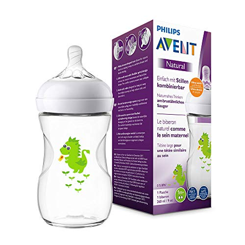 Philips Avent Natural Flasche SCF070/24, 260 ml, naturnahes Trinkverhalten, Anti-Kolik-System, Design Drache,...