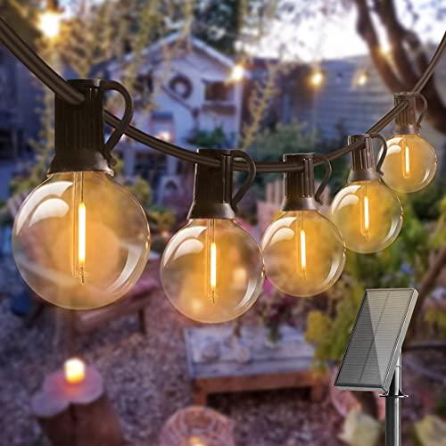 Solar Lichterkette Glühbirnen Aussen, Bomcosy 15M 25 LEDs G40 Außen Beleuchtung, USB wiederaufladbar, 4...
