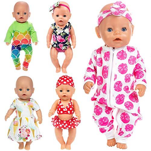 ZITA ELEMENT 5 Set Puppenkleidung Bekleidung Zubehör für 35-46cm Babypuppe Puppen Kleider Onesies für 43 cm...