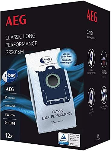 AEG GR201SM s-bag Staubbeutel Classic Long Performance MegaPack / 12 Synthetik Staubsaugerbeutel für...