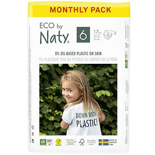 Eco by Naty, Größe 6, 102 Windeln, 16+ kg, MONATSVORRAT, pflanzliche Premium-Bio‑Windeln mit 0% Plastik...