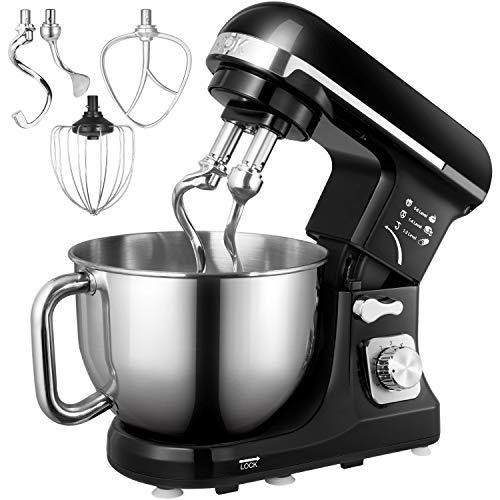 Küchenmaschine, Aicok 5L Weniges Geräusch Knetmaschine mit Doppelten Knethaken, Rührbesen, Knethaken,...