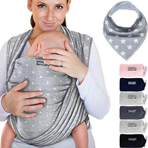 Babytragetuch aus 100% Baumwolle - Hellgrau mit Sternen – hochwertiges Baby-Tragetuch für Neugeborene und...
