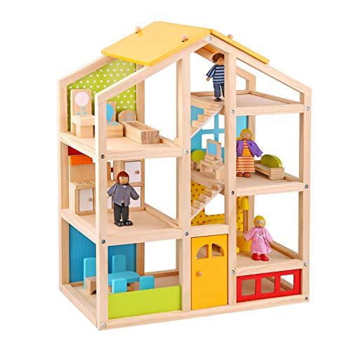 Tooky Toy Spielzeug Holz-Puppenhaus mit Puppen und Zubehör - 22-teilig für garantierten Spielspaß - mit...