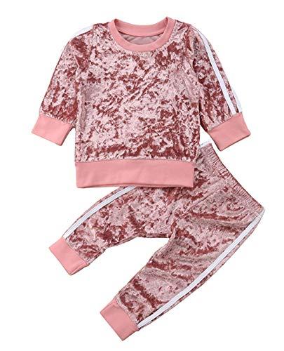 Douleway Kinder Baby Mädchen Jungen Winterkleidung Samt Langarmshirts Pullover Sweatshirt + Hosen Lässige...