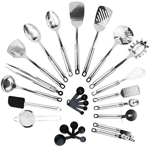 KRONENKRAFT® 26 teiliges Küchenset aus Edelstahl Küchenutensilien Set, Küchenzubehör, Kochset,...