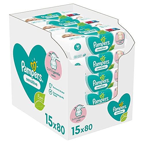 Pampers Sensitive Baby Feuchttücher, 1200 Tücher (15 x 80) Für Empfindliche Babyhaut, Dermatologisch...