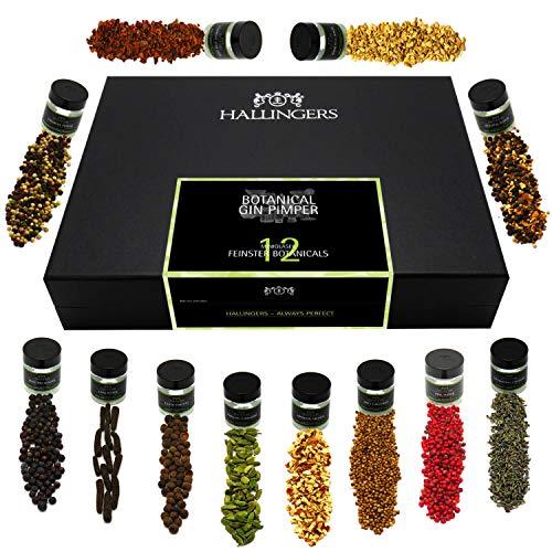 Hallingers 12er Premium Gin Botanicals als Geschenk-Set (142g) - Botanical Gin Pimper XL (Design-Karton) - zu...
