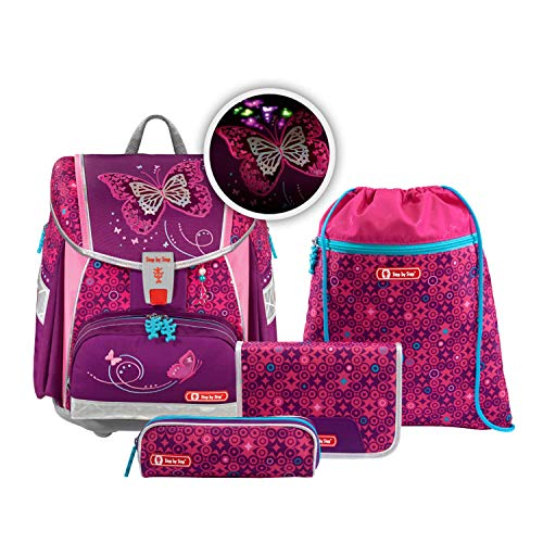 "Step by Step Ranzen-Set Touch 2 Flash ""Shiny Butterfly"" 4-teilig, lila, Schmetterling-Design,..."