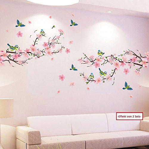 WandSticker4U®- XL Wandtattoo Blumen Pfirsichblüte mit Vögeln I Wandbild: 170x85 cm I Wandsticker...