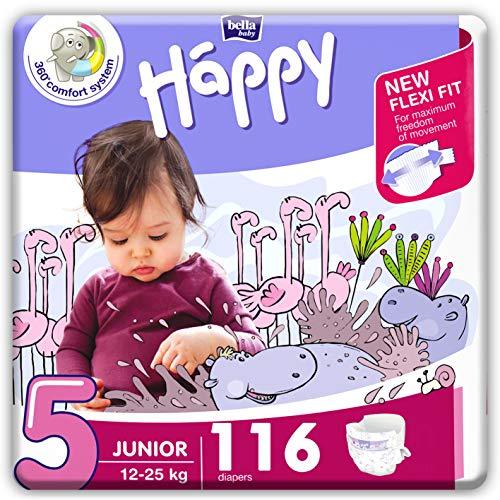 bella baby Happy Windeln Größe 5 Junior 12 -25 kg, 1er Pack (1 x 116 Stück) mit maximalem Schutz und New...