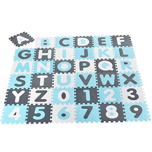 Juskys Kinder Puzzlematte Noah 36 Teile mit Buchstaben A-Z & Zahlen 0-9 - rutschfest – blau für Jungen -...