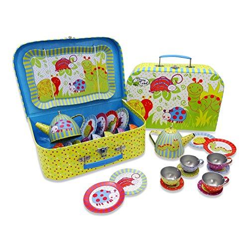 Wackelkäfer Teeservice aus Metall mit Koffer für Kinder (14 Stck. Spielgeschirr) Grün, Blau, Gelb, Rot