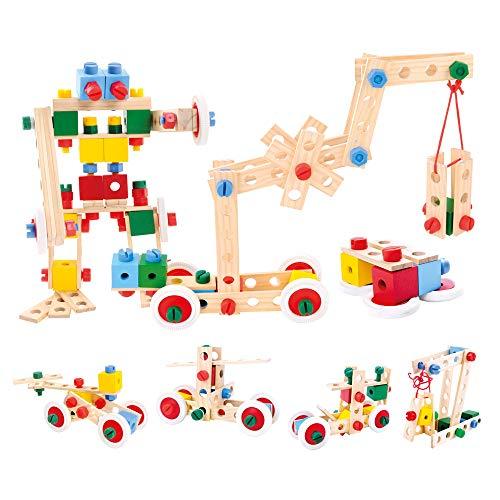 Bino Holz-Baukasten im Eimer, Spielzeug für Kinder ab 3 Jahre, Kinderspielzeug (Konstruktionsspielzeug, 120...