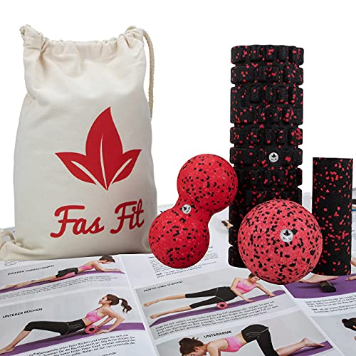 Fas Fit Faszienrolle Set 4teilig - Massagerollen & Faszienbälle - Faszien Rolle für EIN effektives...