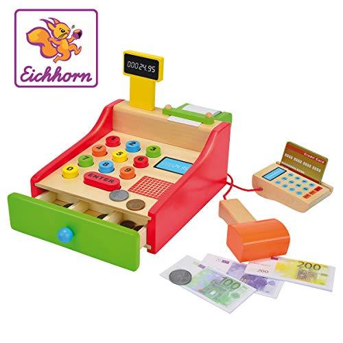 Eichhorn 100003717 - Kasse 16,5x26x16cm mit Kartenlesegerät und Scanner inkl. Spielgeld, Karte und...