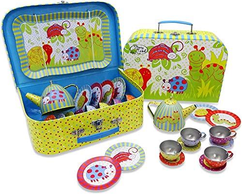 Wobbly Jelly Wackelkäfer Teeservice aus Metall mit Koffer für Kinder (14 Stck. Spielgeschirr) Grün, Blau,...