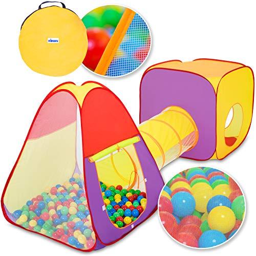KIDUKU® 3-teiliges Bällebad Spielzelt Babyzelt + Krabbeltunnel + 200 Bälle + Tasche für drinnen und...