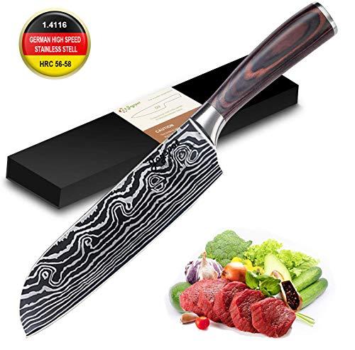 Kochmesser Japanisch Chefmesser, Santokumesser Küchenmesser 17cm, Deutsche Karbon-Edelstahlmesser Extra...