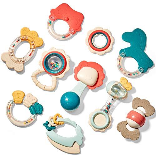 CubicFun Rassel Beißring Set Baby Spielzeug ab 0 3 6 9 Monate 10 PCS Shaker Greifen Rassel Baby Kleinkind...