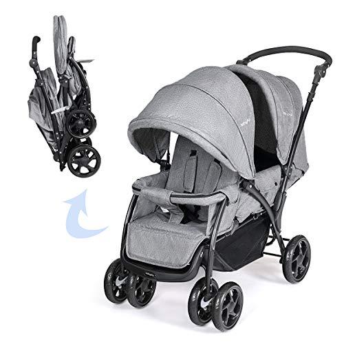 DREAMADE Geschwisterwagen 2 in 1, Doppelkinderwagen Faltbar Zwillingswagen Puppenwagen, Kinderwagen Babywagen...
