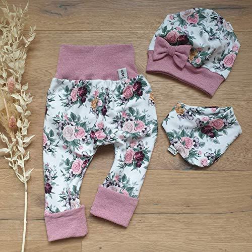 ANGEBOT Set - Hose, Schleifenmütze, Halstuch - Cremeweiß Rosenwiese (Rose melange) Baby Mädchen