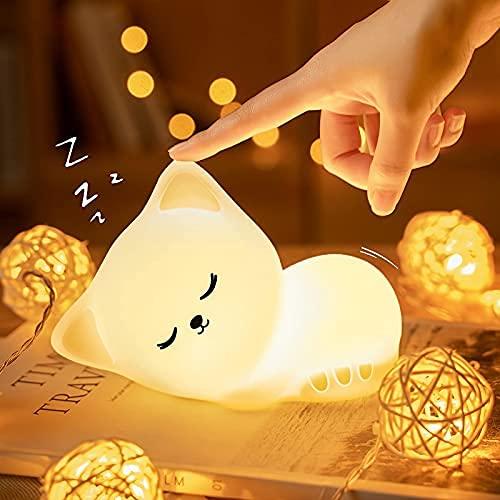 Kawaii Katze Nachtlicht Kinder, LED Nachtlicht Baby,Stilllicht Babyzimmer Deko,Dimmbar USB Silikon Touch...