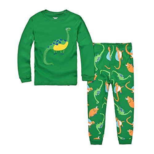 DAWILS Jungen Schlafanzug Grün Dino Langarm Zweiteilige Dinosaurier Pyjama Sets EU Gr.128/6-7 Jahre,...