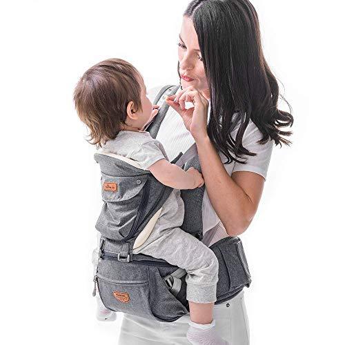 SUNVENO Babytrage Ergonomisch,Baby Carrier mit Abnehmbarer Kapuze, Hüftsitz baby mit Speicheltuch, 3in1...
