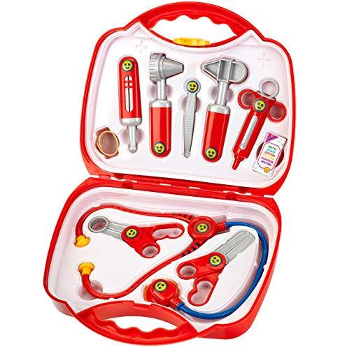 Theo Klein 4383 Arztkoffer I 14-teiliger Doktorkoffer mit Stethoskop, Thermometer, Spritze und praktischem...