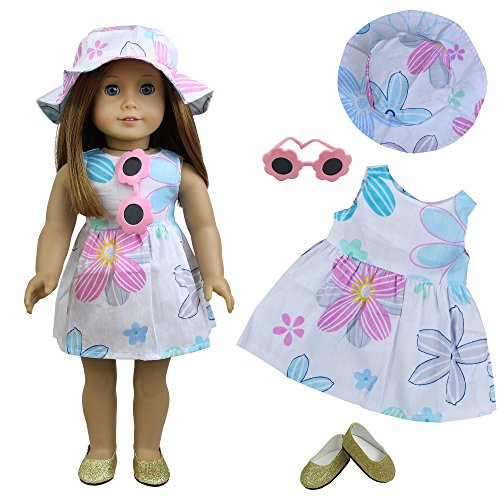 ZITA ELEMENT 4 Stück Puppe Kleidung Puppenkleider Blumenkleid Hut Sonnenbrille Schuhe für American 18 Zoll...