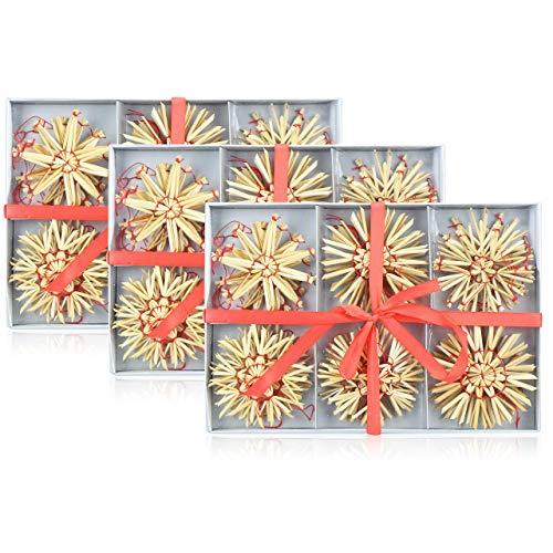 com-four® 72-teiliges Strohsterne Set - Christbaum-Schmuck - Stroh-Anhänger für den Weihnachtsbaum -...