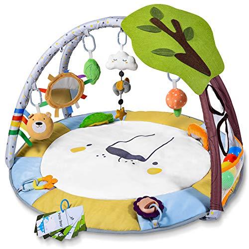 Krabbeldecke für Baby mit Bällebad, Lupantte Spieldecke mit Spielbogen für Sensorische und Motorische...