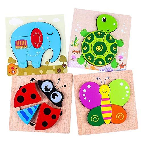 Holzpuzzle 3D Kinder 4 Stücke, Tier Steckpuzzle Holz Spielzeug für Kinder 1 2 3 Jahre,Baby Lernspielzeug...
