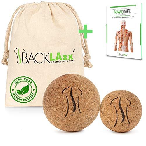 BACKLAxx® Faszienball – Set 5 cm und 7cm nachhaltiger Massageball aus Kork mit Aufbewahrungsbeutel –...