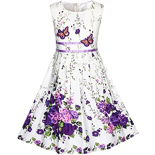 Sunboree Mädchen Kleid Lila Schmetterling Blume Gr. 128-134