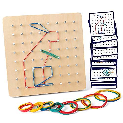 Coogam Hölz Geoboard mit Aktivitäts Muster Karten und Gummi Bändern - 8 x 8 Stifte Geometriebrett...