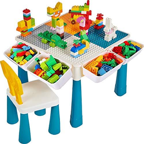 Bausteine Spieltisch, Kindertisch und Stuhl Set mit 130Stücke Blocks, Platte, 4 Aufbewahrung Box für...