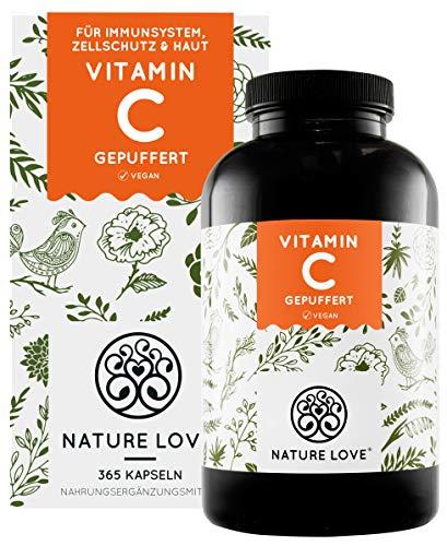 NATURE LOVE® Gepuffertes pflanzliches Vitamin C - Einführungspreis - Hochdosiert mit 1000mg Vitamin C je...