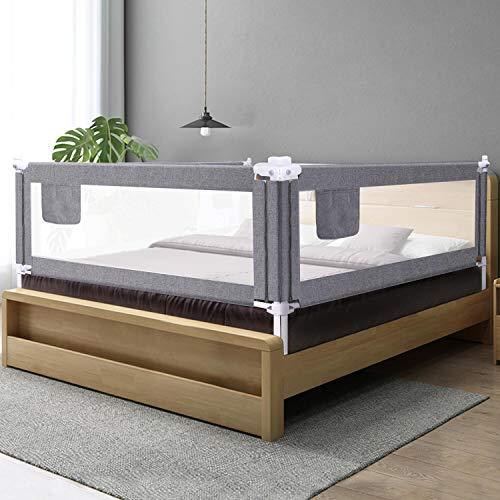 ZEHNHASE Bettgitter 200cm, Kinderbettgitter Babybettgitter Rausfallschutz für kinder Baby - Grau 1 Seite
