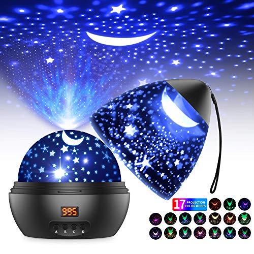 Sternenhimmel Projektor LED Projektor Lampe Kinder 360° Drehen 17 Beleuchtungsmodi und Timer Automatisch...