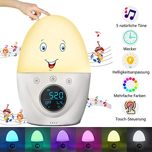 Lichtwecker,Wake Up Licht,Digitaler Wecker für Kinder und Erwachsene,RegeMoudal Nachtlicht Wecker 7 Farben...