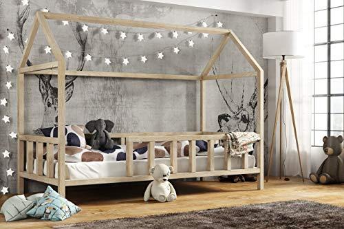 Hausbett 80x160 cm | Kinderbett Kinderhaus mit Rausfallschutz Sicherheitsbarrieren Natur Haus Holz Bett - Made...