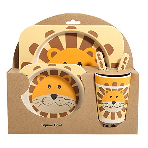 shopwithgreen Kindergeschirr 5-teiliges Sets -Kinder Geschirr Set aus Bambus   Teller ,Schüssel, Löffel,...